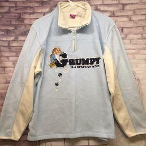 VTG Disney Grumpy Plush 1/4 Zip Sweatshirt Sz. L
